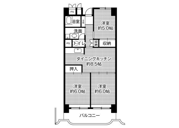 3DK Apartment to Rent in Gifu-shi Floorplan