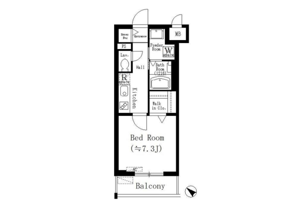 1LDK Apartment to Rent in Bunkyo-ku Floorplan