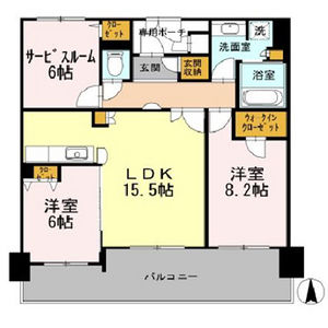 2SLDK Mansion in Kozu - Osaka-shi Chuo-ku Floorplan