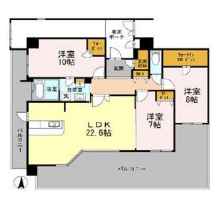 3LDK Mansion in Kozu - Osaka-shi Chuo-ku Floorplan