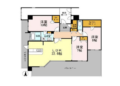 3LDK Apartment to Rent in Osaka-shi Chuo-ku Floorplan