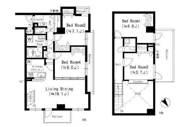 4LDK Apartment to Rent in Minato-ku Floorplan