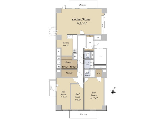 在港區購買3LDK 公寓大廈的房產 房間格局