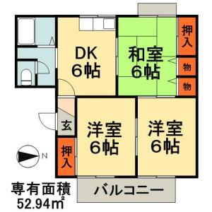 3DK Apartment in Shiodacho - Chiba-shi Chuo-ku Floorplan