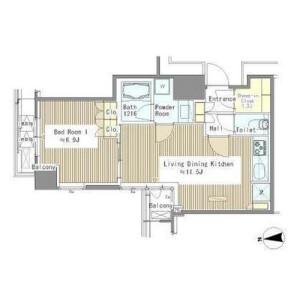 1LDK Mansion in Hamamatsucho - Minato-ku Floorplan