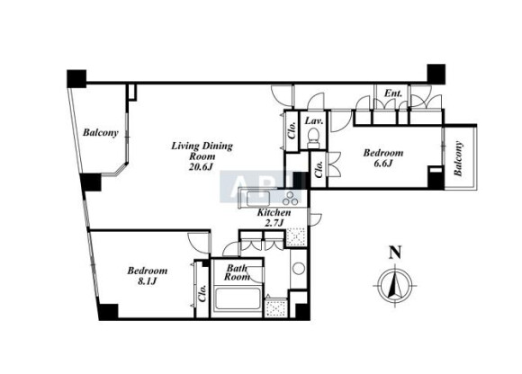 在千代田區內租賃2LDK 公寓 的房產 房間格局