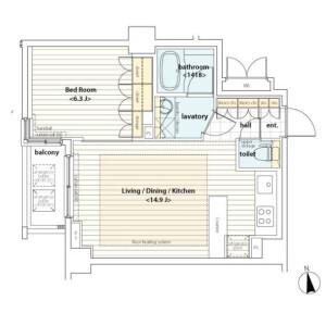 1LDK Apartment in Azabujuban - Minato-ku Floorplan