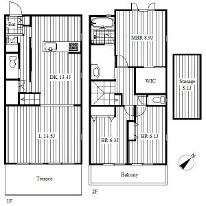 3LDK Terrace house in Yagoto tendo - Nagoya-shi Tempaku-ku Floorplan