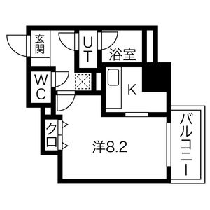 1K Mansion in Nishishinsaibashi - Osaka-shi Chuo-ku Floorplan