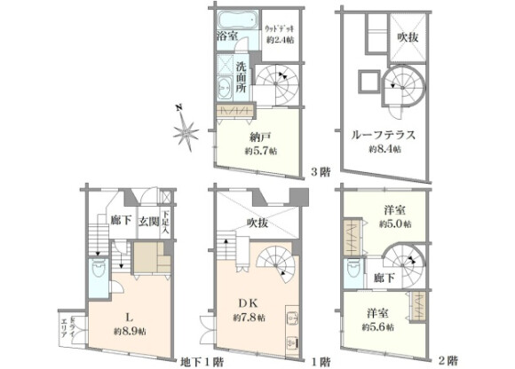 2SLDK Apartment to Buy in Minato-ku Floorplan
