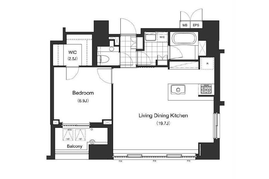 1LDK Apartment to Rent in Minato-ku Floorplan