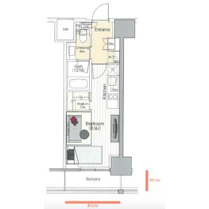 1R Mansion in Iidabashi - Chiyoda-ku Floorplan