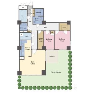 2SLDK {building type} in Takanawa - Minato-ku Floorplan
