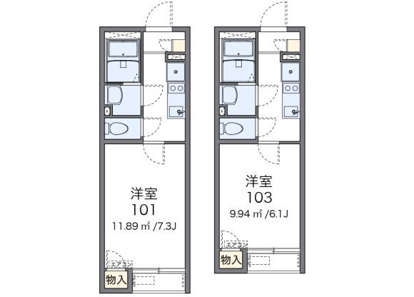 在新宿区内租赁1K 公寓 的 楼层布局
