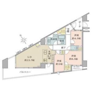 3LDK {building type} in Nishiwaseda(2-chome1-ban1-23-go.2-ban) - Shinjuku-ku Floorplan