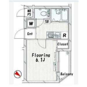 新宿區北新宿-1K公寓大廈 房間格局