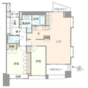 2LDK Apartment in Shinsencho - Shibuya-ku Floorplan