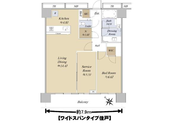 1SLDK Apartment to Buy in Meguro-ku Floorplan