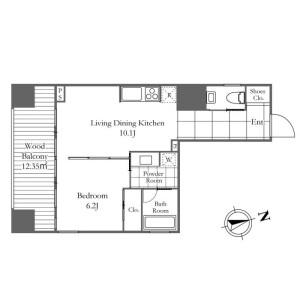 港區麻布十番-1LDK公寓 房間格局