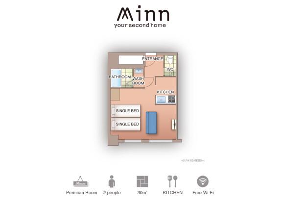 1K Serviced Apartment to Rent in Osaka-shi Naniwa-ku Floorplan