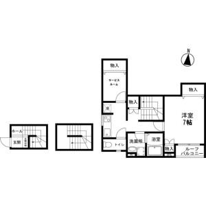 1SK Apartment in Shinnakazato - Saitama-shi Chuo-ku Floorplan