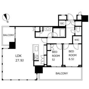 2LDK Mansion in Hamamatsucho - Minato-ku Floorplan