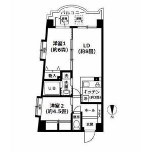 2LDK Mansion in Shimoma - Setagaya-ku Floorplan