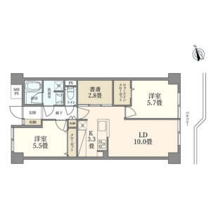 2SLDK {building type} in Mita - Minato-ku Floorplan