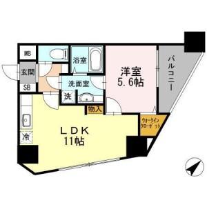 1LDK Apartment in Nishiwaseda(2-chome1-ban1-23-go.2-ban) - Shinjuku-ku Floorplan