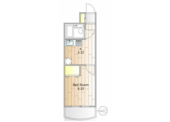 在目黒區內租賃1K 公寓大廈 的房產 房間格局