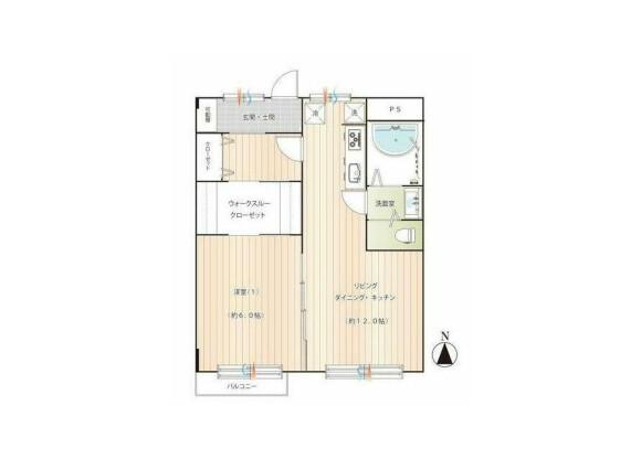 1LDK Apartment to Buy in Yokohama-shi Naka-ku Floorplan