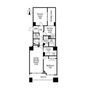 2LDK Apartment in Takanawa - Minato-ku Floorplan