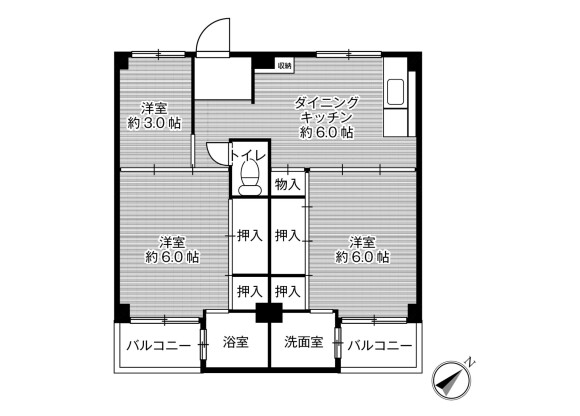 3DK Apartment to Rent in Otsu-shi Floorplan