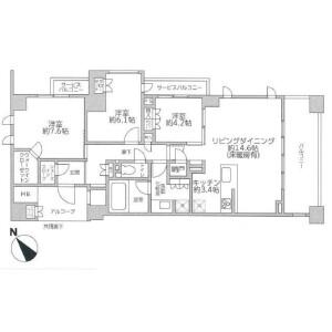 3LDK Apartment in Ichigaocho - Yokohama-shi Aoba-ku Floorplan