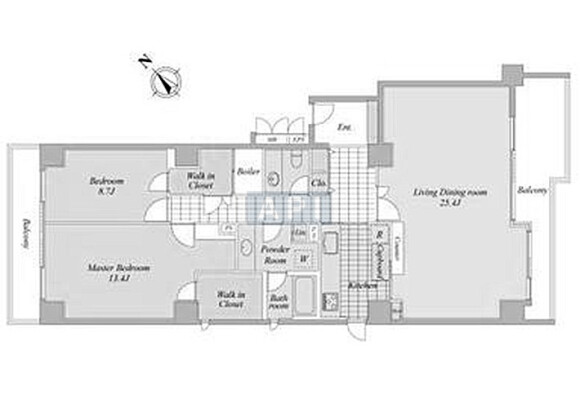 2LDK Apartment to Buy in Minato-ku Floorplan