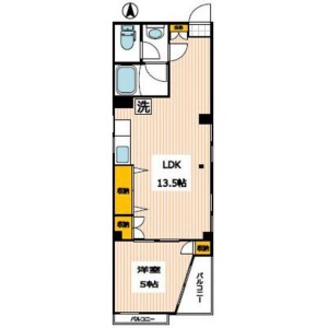 1LDK Mansion in Nishikamata - Ota-ku Floorplan