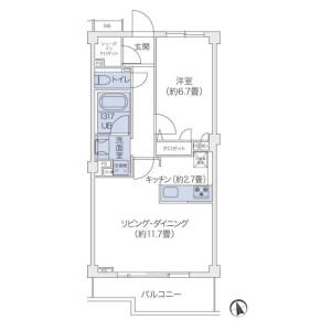 澀谷區鉢山町-1LDK公寓大廈 房間格局