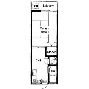 1DK Apartment in Nogata - Nakano-ku Floorplan