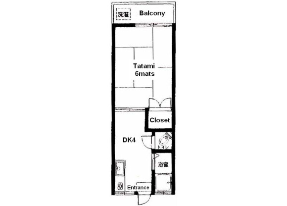 1DK Apartment to Rent in Nakano-ku Floorplan