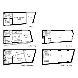 港区西麻布-3LDK独栋住宅 楼层布局