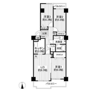 3LDK {building type} in Nishikicho - Tachikawa-shi Floorplan