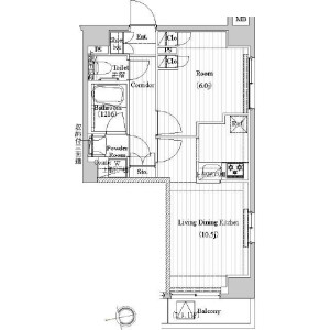 1LDK Mansion in Motoasakusa - Taito-ku Floorplan