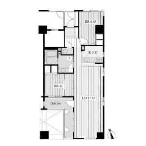 2LDK Mansion in Marunouchi - Nagoya-shi Naka-ku Floorplan