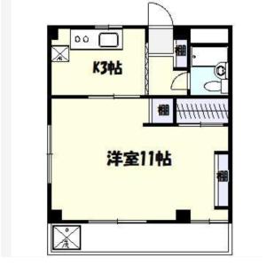 川崎市高津區二子-1K公寓大廈 房間格局