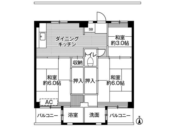 3DK Apartment to Rent in Kawasaki-shi Miyamae-ku Floorplan