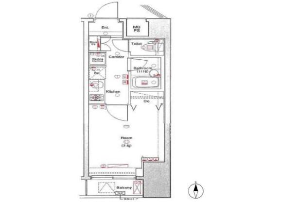 1K Apartment to Buy in Taito-ku Floorplan