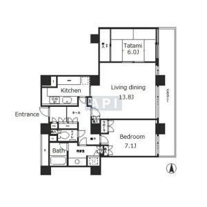 2LDK Apartment in Tsukuda - Chuo-ku Floorplan