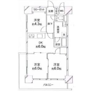 3DK Mansion in Hinodecho - Yokosuka-shi Floorplan
