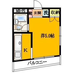 1K Mansion in Kyuden - Setagaya-ku Floorplan
