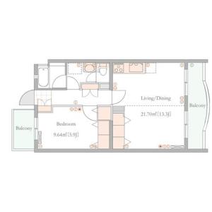 1LDK Apartment in Shinanomachi - Shinjuku-ku Floorplan